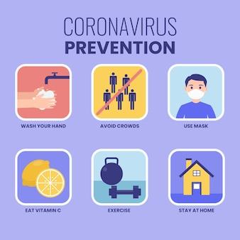 Pacote de infográfico de prevenção de coronavírus