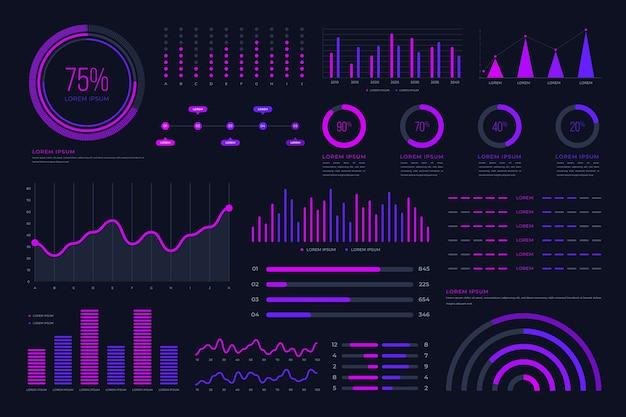 Pacote de infográfico de tecnologia futurista
