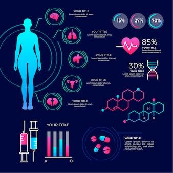 Pacote de infográfico médico colorido
