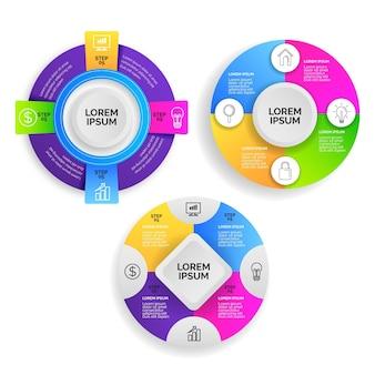 Pacote de infográfico radial gradiente