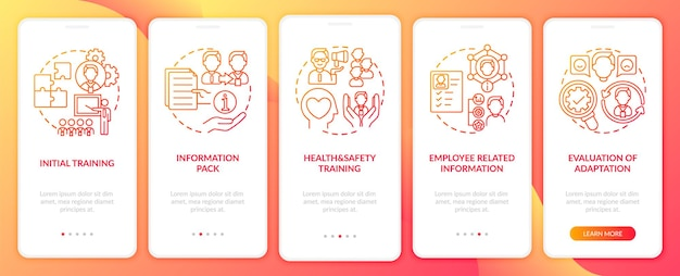 Pacote de informações básicas do conjunto de telas de páginas de aplicativos móveis de integração da empresa