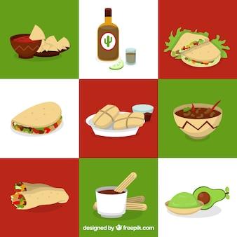 Pacote de ingredientes e comida mexicana