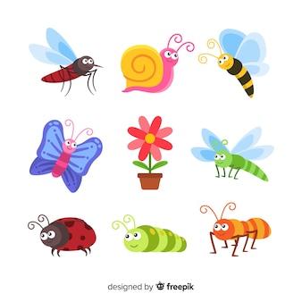 Pacote de insetos bonito mão desenhada
