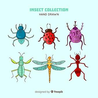 Pacote de insetos desenhado a mão