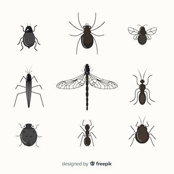 Pacote de insetos incolores planas