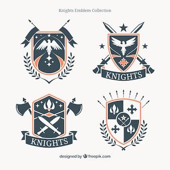 Pacote de insígnias de escudos heráldicos vintage