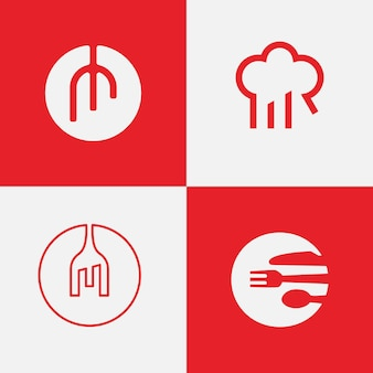 Pacote de inspiração de design de logotipo de restaurante
