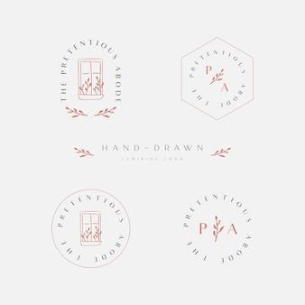 Pacote de inspiração de logotipo elegante e feminino
