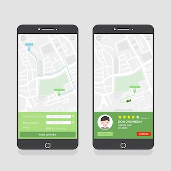 Pacote de interface do aplicativo de táxi