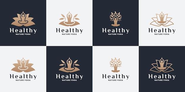 Pacote de ioga da natureza, saudável, árvore, logotipo humano com cor dourada