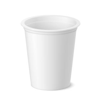 Pacote de iogurte realista de vetor, sorvete ou creme azedo