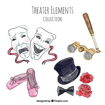 Pacote de itens de teatro em estilo da aguarela