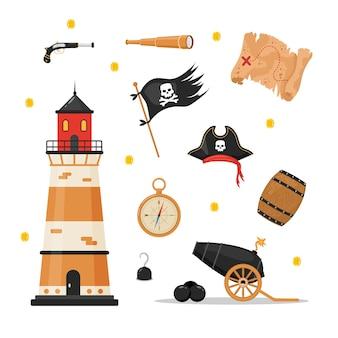 Pacote de itens piratas. coleção de pirataria isolada no fundo branco.