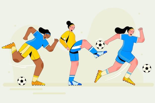 Pacote de jogador de futebol plano