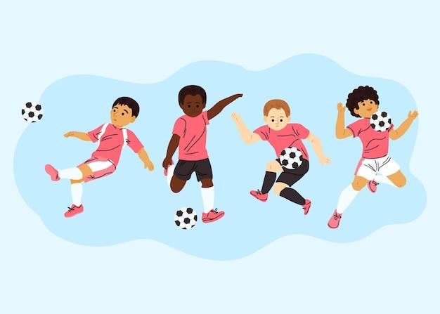 Pacote de jogadores de futebol dos desenhos animados