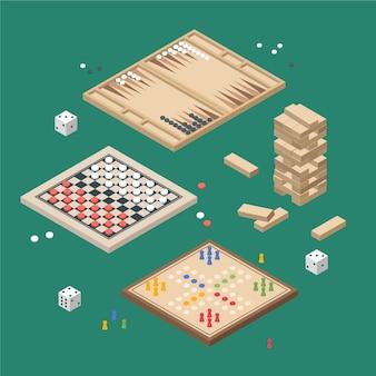 Pacote de jogo de tabuleiro ilustrado