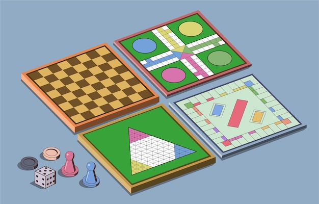 Pacote de jogos de tabuleiro para se divertir