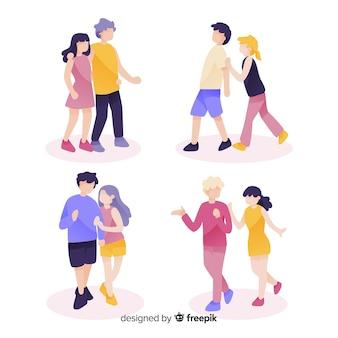Pacote de jovens casais andando