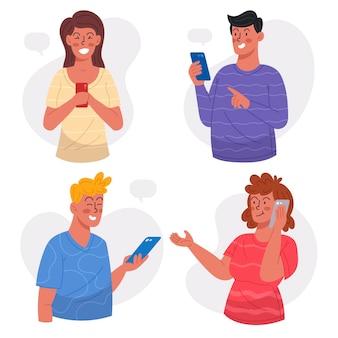 Pacote de jovens usando smartphones