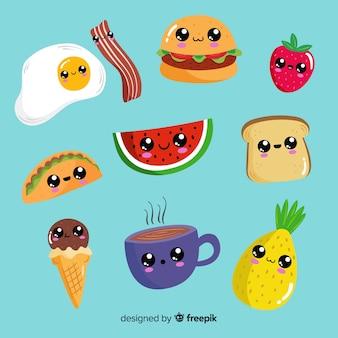 Pacote de kawaii de comida de mão desenhada