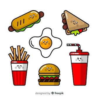 Pacote de kawaii de fast-food mão desenhada