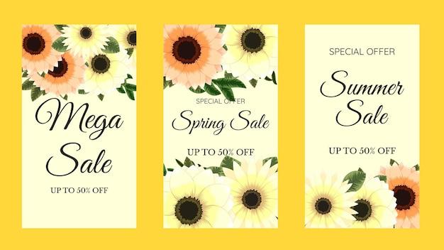 Pacote de kit conjunto de mídia social instagram story roxo floral flores histórias venda banner background