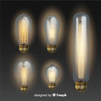Pacote de lâmpadas em estilo realista