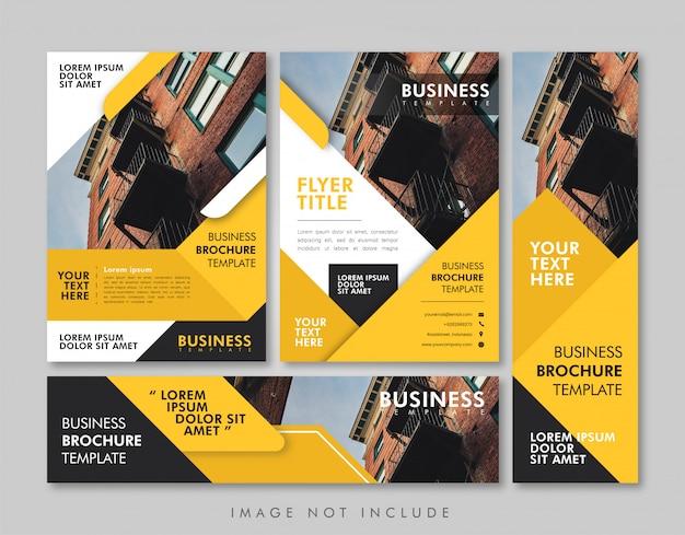 Pacote de layout amarelo de negócios