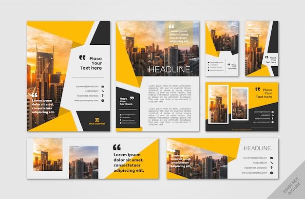 Pacote de layout corporativo amarelo