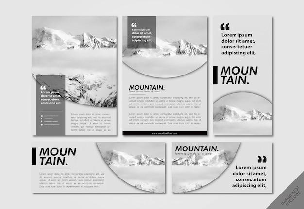 Pacote de layout de escala de cinza minimalista