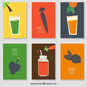 Pacote de legumes e sucos de frutas cartões