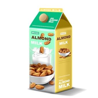 Pacote de leite de amêndoa com respingos de líquido e sementes