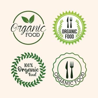 Pacote de letras de alimentos orgânicos