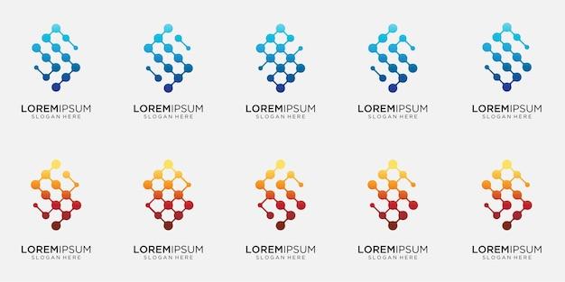 Pacote de letras de coleção s com modelo de logotipo de conceito de ponto e molécula