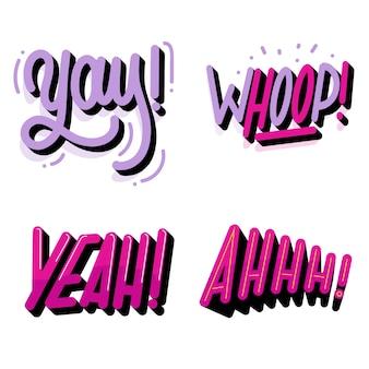 Pacote de letras de expressões e onomatopéias em estilo retro