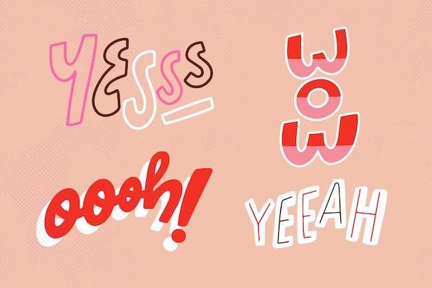 Pacote de letras de expressões e onomatopéias em estilo vintage