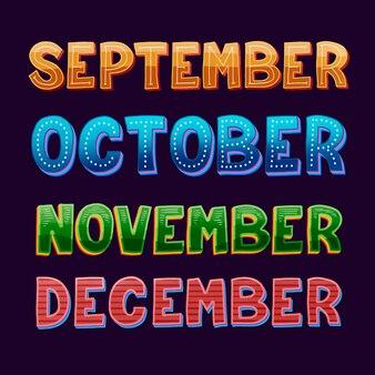 Pacote de letras de meses