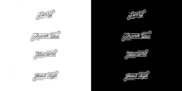 Pacote de letras vintage monoline Vetor Premium