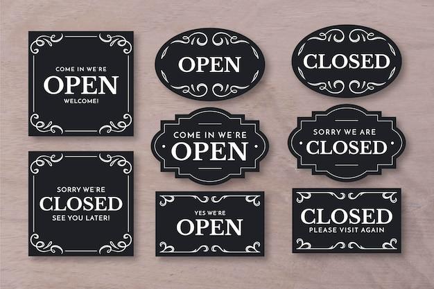 Pacote de letreiro vintage aberto e fechado
