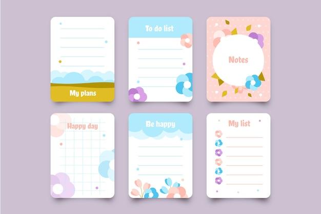 Pacote de lindas notas e cartões de scrapbook