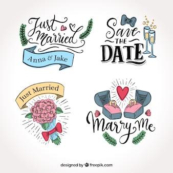 Pacote de lindos rótulos de casamento
