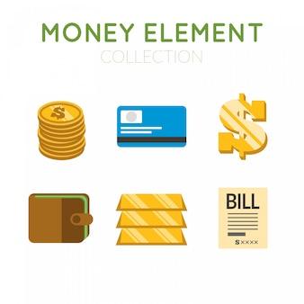 Pacote de lingotes de ouro e itens de dinheiro