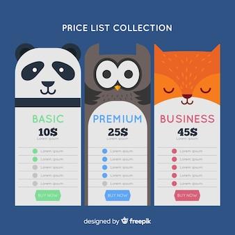 Pacote de lista de preços de animais
