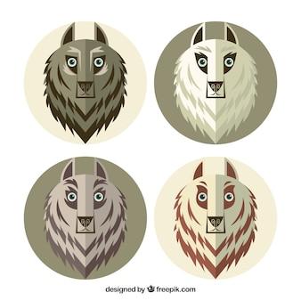 Pacote de lobos em design plano