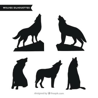 Pacote de lobos uivando silhuetas