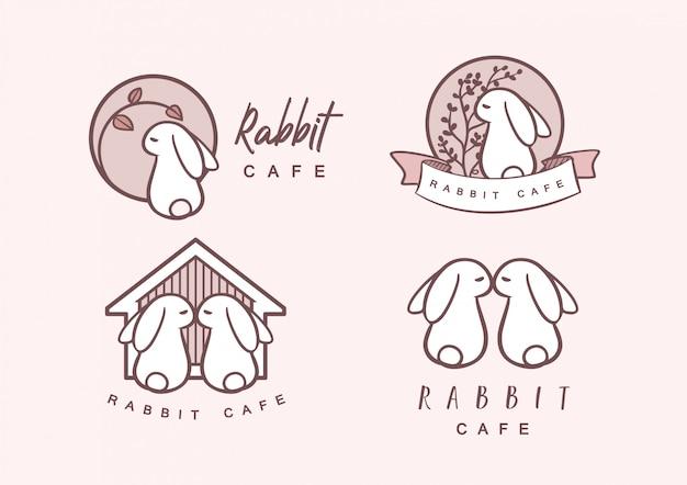 Pacote de logo rabbit cafe