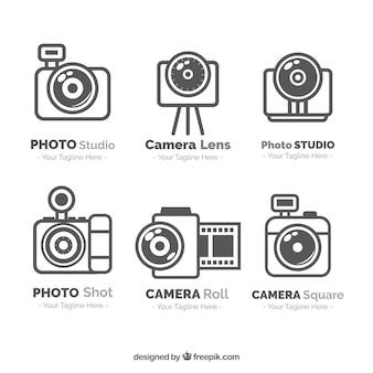 Pacote de logos de fotografia em estilo linear
