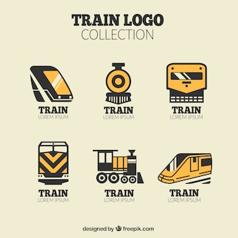 Pacote de logos de trem preto e laranja