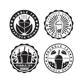 Pacote de logotipo bubble tea