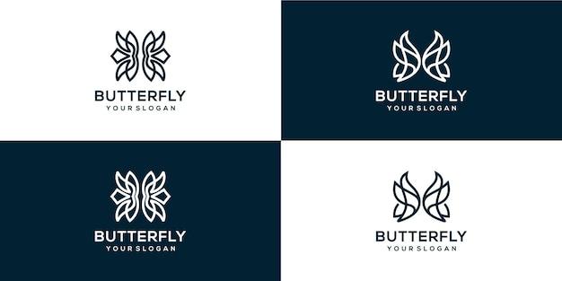 Pacote de logotipo butterfle monoline